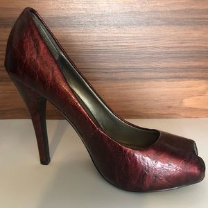 Delicious Peep Toe Patent Heels Deep Red Size 7.5